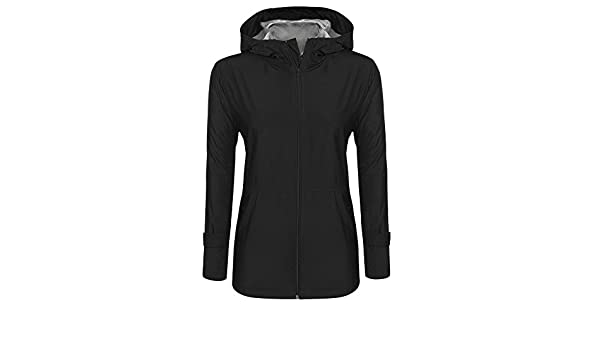 ODlover Women Waterproof Lightweight Rain Jacket Active Outdoor Hooded Raincoat