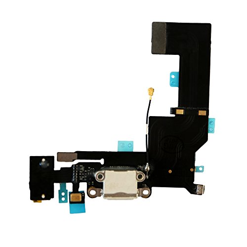 COHK USB Charging Port Dock Connector Flex Cable with Microphone and Headphone Audio Jack Replacement for iPhone SE ()