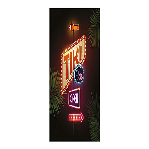 3D Decorative Film Privacy Window Film No Glue,Tiki Bar Decor,Old Fashioned Neon Signs Illustration Open Bar Palm Tree Branches Roadside Decorative,Multicolor,for Home&Office ()