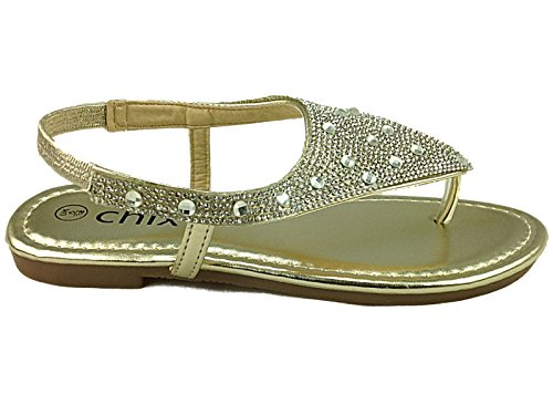 Verano Toe Flip Flop Chix Tiras Tamaño Oro Señoras Moda 3 Slingback Gladiador Sandalia 8 Diamante 7393 Peep Publicar Ixq4P