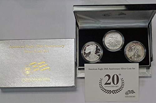 2006 American Eagle 20th Anniversary Silver Coin Set 3 Coins Proof and Reverse Proof MS ()