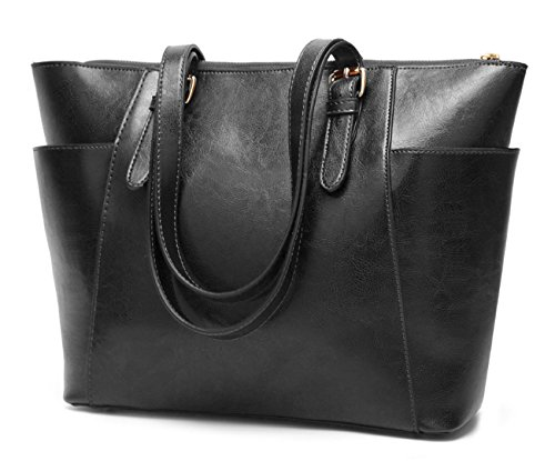 Women's Vintage Fine Fibre Genuine Leather Bag Tote Shoulder Bag Handbag Model Pocket Black ()