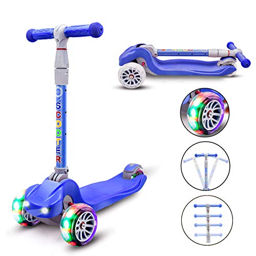 YX Kick Scooter for Kids 3 Wheel Toddlers Scooter 4 Adjustable Height Lean to Steer with PU LED Flashing Wheels for Boys Girls from 3 to 12 Years Old (Dark Blue)