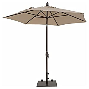 Patio Umbrella - TrueShade Plus Garden Parasol Umbrella with Push Button Tilt and Crank. Includes Storage Cover - Freestanding or Table Hole. - 9' Diameter - Antique Beige