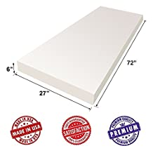 """Upholstery Foam Cushion Sheet- 6""""x27""""x72""""-High Density Support Premium Luxury Quality- Good for Sofa Cushion, Mattresses, Wheelchair, Poker Table, and Much More- by Dream Solutions USA"""