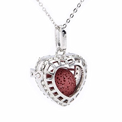 Sier Open Heart Aromatherapy Perfume Essential Oil Diffuser Necklace Locket With Lava Stone (Red) (Sier Oil)