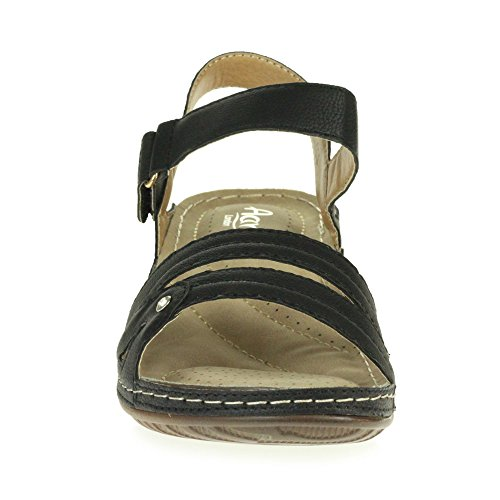 AARZ Sandals Low Toe Open Size Wedge Casual Heel LONDON Comfort Women Ladies Lightweight Shoes Black Summer rARrFfW
