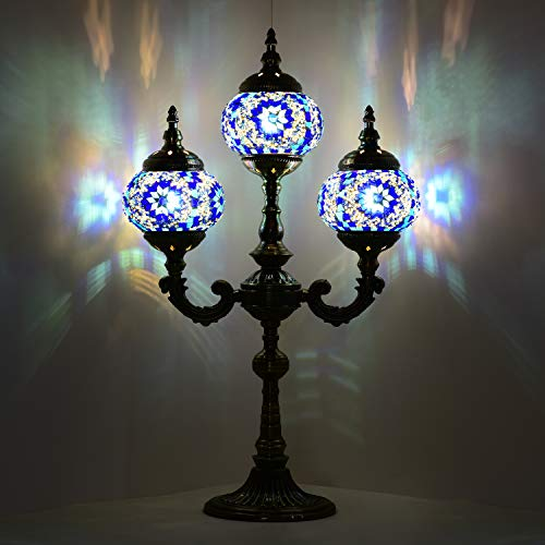 Mosaic Table Lamp Marrakech Handmade Turkish Mosaic Glass Lamp 3 Globes Candelabra Moroccan Tiffany Style Lamp Decorative Night Light for Living Room Bedroom Blue
