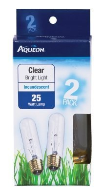Aqueon Incandescent Tubular Bulb Replacements, Clear Bright Light, 25 Watts, 2 Pack ()