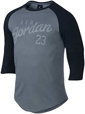 8365237ddbcd78 NIKE Men s Air Jordan Reglan 3 Quarter T-Shirt 724492-065 Grey Black White