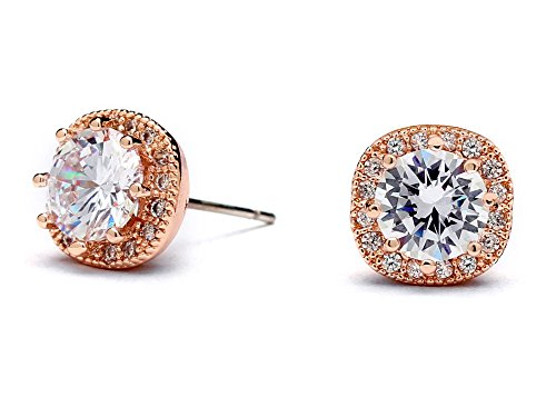 Mariell Rose Gold Plated Cubic Zirconia Cushion Shape 10mm Halo Stud Earrings with Round-Cut Solitaire (Small Genuine Round Solitaire)
