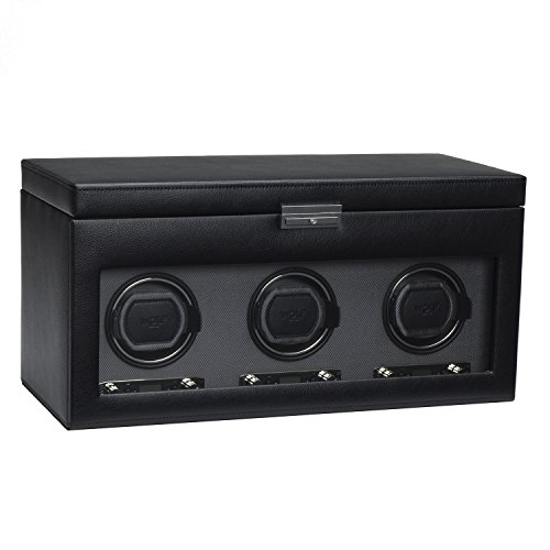 - WOLF 456302 Viceroy Triple Watch Winder with Cover and Storage, Black