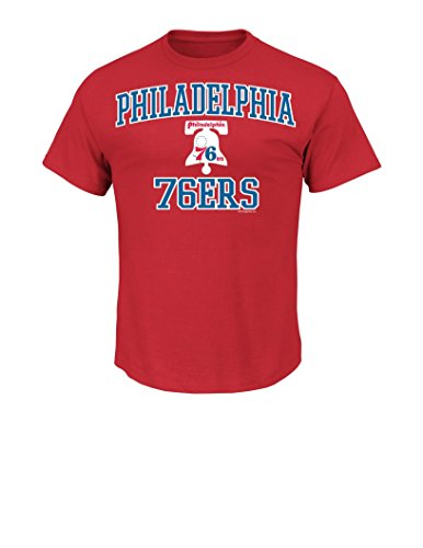 NBA Philadelphia 76ERS 1963-77 Men's Majestic Athletics Heart and Soul Short Sleeve Crew Neck T-Shirt, Large, - Majestic T-shirt Crew