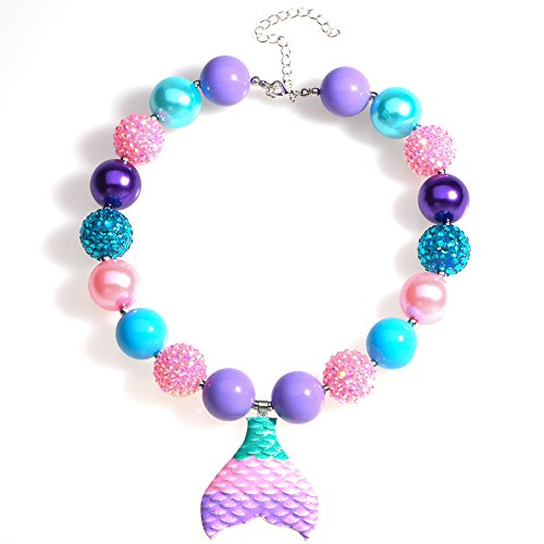 Bling Bling Chunky Bubblegum Necklace Small Mermaid Tail Fashion Beads with Gift Box for Baby Girls (Mermaid Tail)