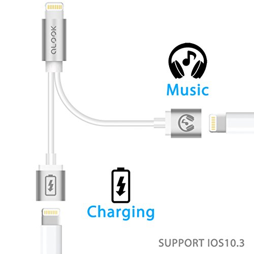 ALook iPhone 7 Adapter & Splitter for iPhone 7/7 Plus, Lightning Adapter Splitter Cable, Lightning Headphone Audio & Charge Adapter for iPhone 7/7 Plus