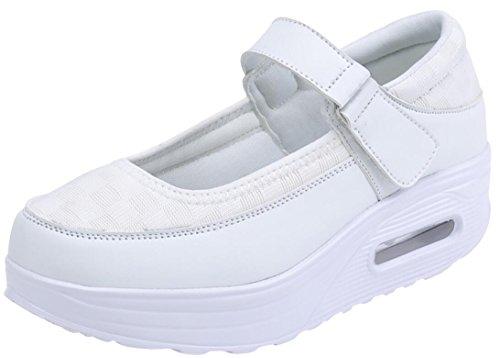 Sneakers Moda Donna Piattaforma, Zeppe Casual Traspiranti Pompe Da Lavoro 5 Colori Taglia 5.5-9 Bianco