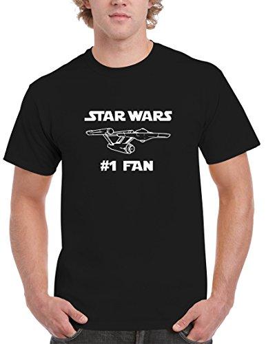 BBT Mens Star Wars #1 Fan Star Trek USS Enterprise T-shirt Tee M Black
