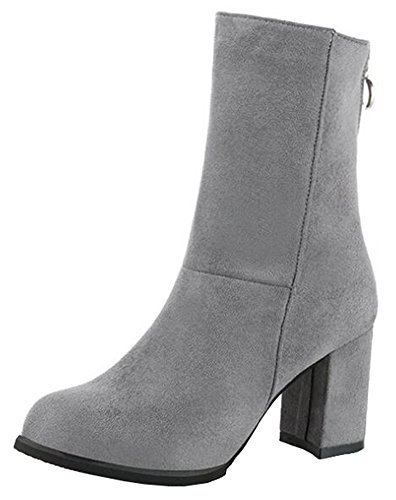 Zipper Womens Mid Suede Gray IDIFU High Faux With Boots 2 Chunky Heels Retro Calf FPddqwR