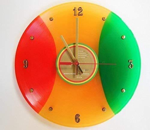 Bob Marley Vinyl Record Clock (Legend). Handmade 12 wall clock created using the original Bob Marley tri-color record.