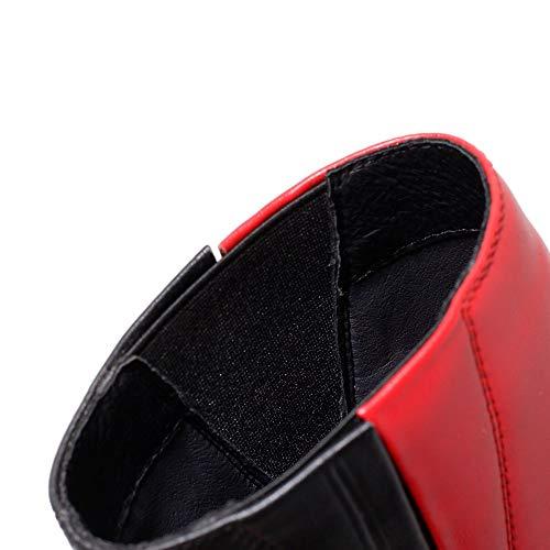 Caviglia Tacco Toni Vestito Delle A Rosso A Elastico Sette Nove Punta Grazioso Donne Grosso Alto Due Genuino Scarpette Aguzza Cuoio Laterale Mano Di Della Fatti gfw1Pq