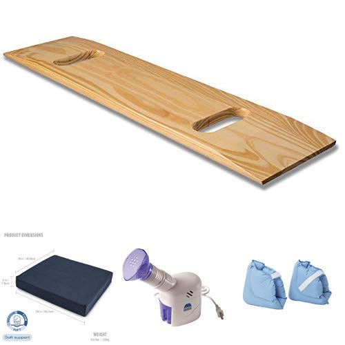 DMI Wooden Slide Transfer Board 440 lb with Wheelchair Seat Cushion and MABIS Personal Steam Inhaler Vaporizer with Aromatherapy Diffuser, Soft Comforting Heel Protector Pillow