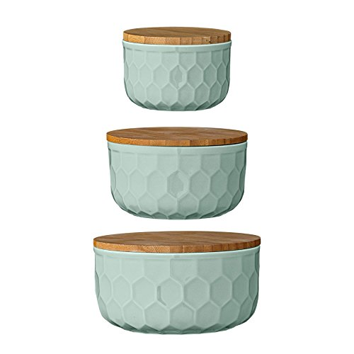 Bloomingville A21700005 Set of 3 Round Mint Green Stoneware Bowls with Bamboo ()