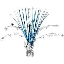"Amscan Festive Christmas & Holiday Party Snow Flake Foil Spray Centerpiece Decoration, Silver/Blue, 12"""