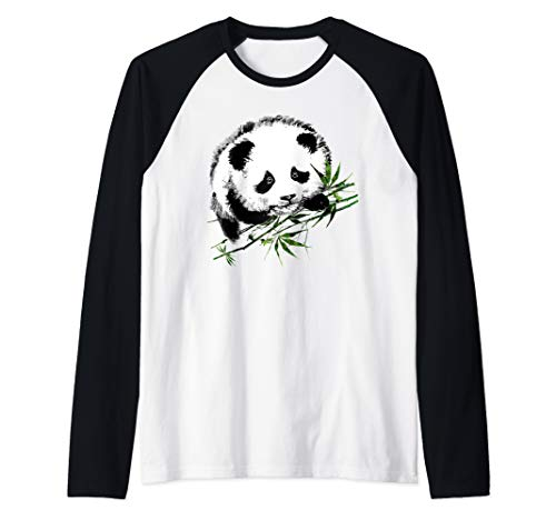 - Cute Baby Panda Bear with Bamboo Raglan Baseball Tee