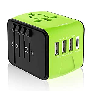 Travel Plug Adapter, Universal Travel Adapter, Travel Power Plug Adapter, International Power Adapter with 3.4A 3 USB & 1 Type-C, for UK, EU, US, AUS, and More 170 Countries (Green)