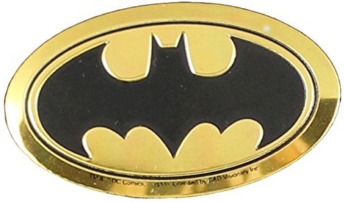 DC Comics Originals Batman Logo On Embossed Metal Emblem Sticker, Yellow, 4cm (Dc Logo Guitar)