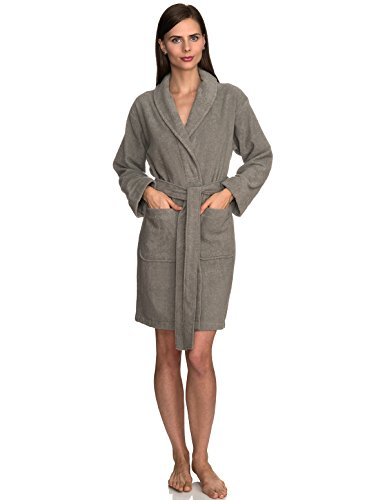 (TowelSelections Women's Robe, Turkish Cotton Short Terry Bathrobe Medium Sharkskin)
