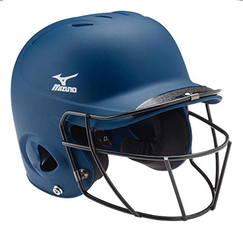 (Mizuno Youth Prospect Batter's Helmet with Fastpitch Facemask, Navy, One Size)