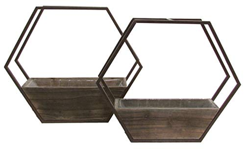 Admired By Nature ABN5E067-BR Set of 2 Hexagon Wood and Metal framing Wall Hanging planters w/Hard Liners, Brown ()