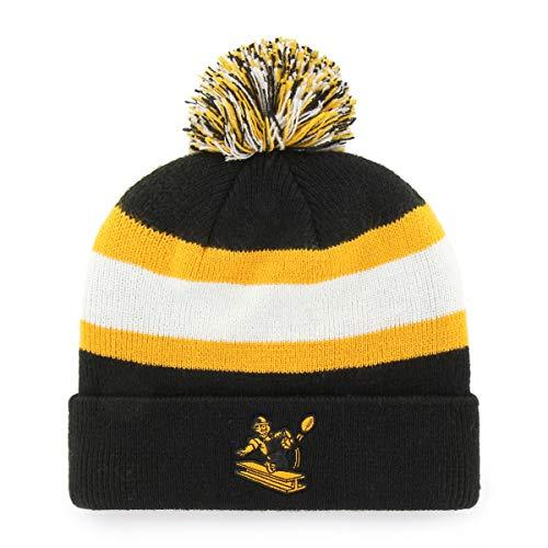 Yarn Cuff - OTS NFL Pittsburgh Steelers Male Rush Down Legacy Cuff Knit Cap with Pom, Black, One Size