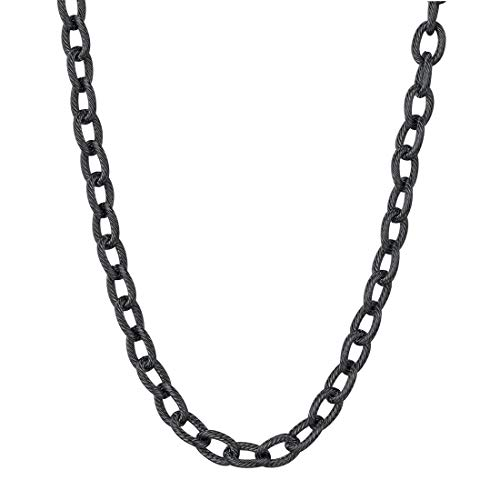 (U7 Mens Black Stainless Steel Thick Chunky 6mm Circle Link Chain Necklace 18