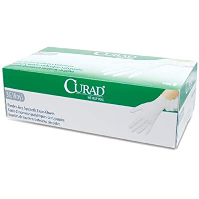 Curad Powder-Free 3G Vinyl Exam Gloves- Large -Box of 100