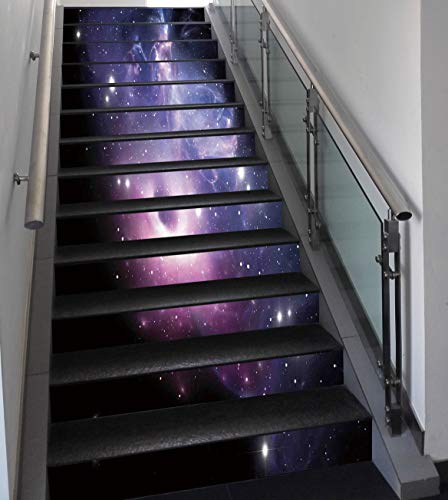 Stair Stickers Wall Stickers,13 PCS Self-adhesive,Space Decorations,Black Hole in the Nebula Gas Cloud in Outer Space Universe Astro Solar System Print,Navy Purple,Stair Riser Decal for Living Room, H by SCOCICI