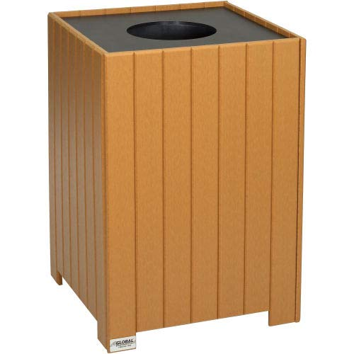 (Global Industrial 32 Gallon Square Recycled Plastic Receptacle W/Liner, Cedar)