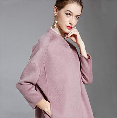E Media Sezione Donna America Double Da Lunga z Cashmere Di A Face Europa Cachemire Elegence Peloso In Pink Cappotto ZaPSWw