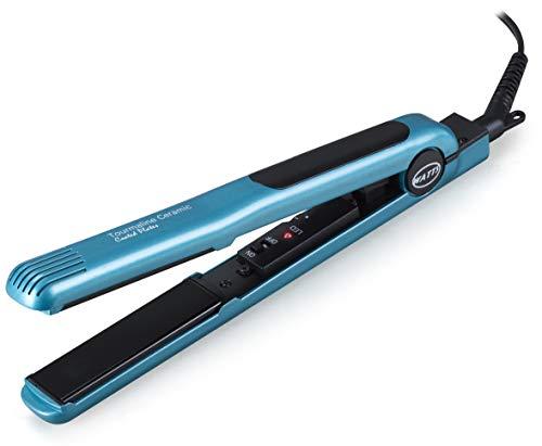 WATTS HW-2403C Professional Glider Anti Frizz Ceramic Tourmaline Ionic Flat Iron Temperature Adjustable Hair Straightener Worldwide Voltage 1 Inch Heating Plates (Worldwide Voltage, Blue/Black) (Hair Straightener Blue)