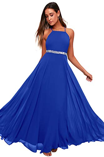 Womens Adjustable Spaghetti Straps Beaded Criss-Cross Open Back Tulle Sexy Formal Ball Evening Gown Long Dress (Blue688, XXLarge)