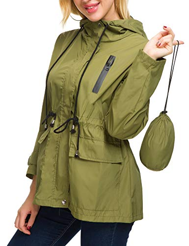 - Romanstii Travel Rain Jacket Women Windbreaker Raincoat with Pouch Softshell Army Green M
