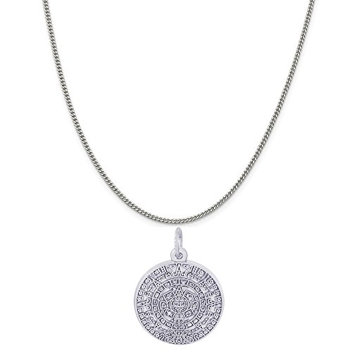 Rembrandt Charms Sterling Silver Aztec Sun Charm on a Sterling Silver Curb Chain Necklace, 20
