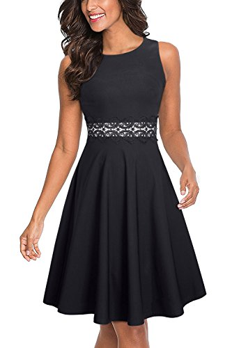 HOMEYEE Women's Sleeveless Cocktail A-Line Embroidery Party Summer Dress A079 (8, Black)