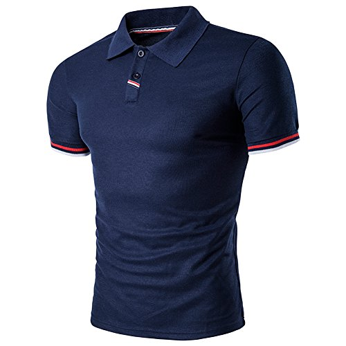 SparrK Mens Casual Solid Color lapel Polo Shirts Short Sleeve T-shirt Navy XL