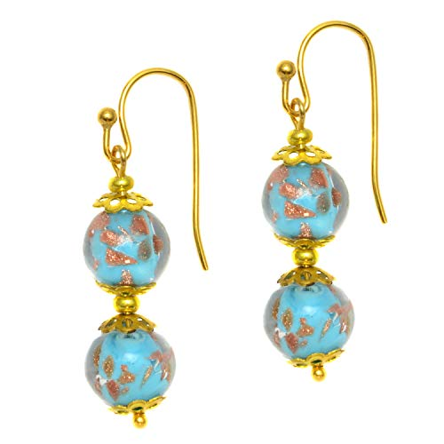 Just Give Me Jewels Genuine Venice Murano Sommerso Aventurina Glass Bead Dangle Earrings - Turq