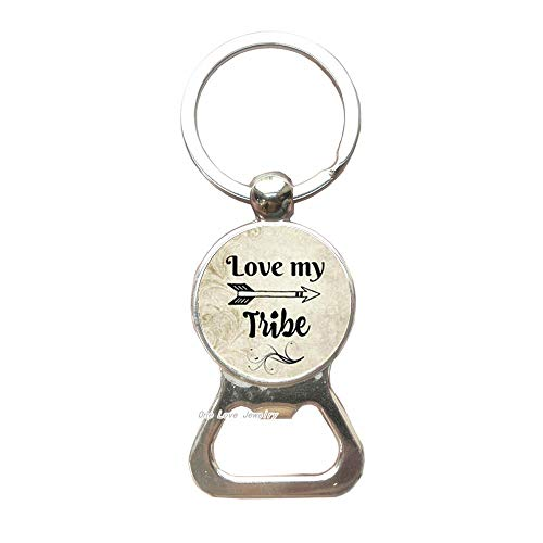 (LOVE MY TRIBE Charm Alloy Key Ring Glass Bottle Opener Keychain,Mom's Gift,Love My Tribal Bottle Opener Keychain,Arrow Charm Tribe,TAP263)