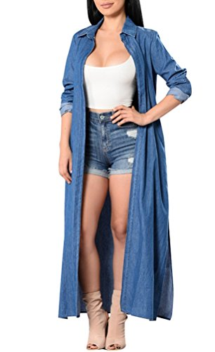 - Memorose Women Spring Cuffed Sleeve Lapel Blue Denim Thin Coat Cardigan Jacket (M, Long)