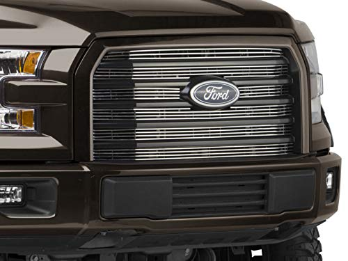 Modern Billet 6 Piece Upper Overlay Grille - Polished - for Ford F-150 XLT 2015-2017, XL with STX Package 2017