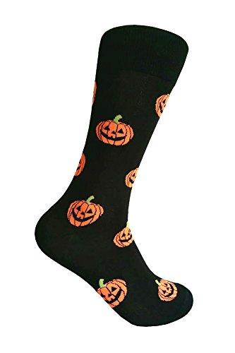Triple M Plus Fancy Designer Color Pattern Dress socks,Black/Orange Pumpkin (Pumpkin Socks)